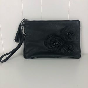 Chico's Black Leather Trio Flower Accent Clutch